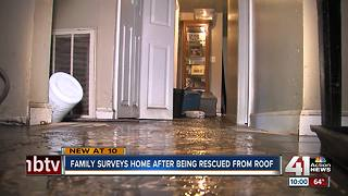 Family of 7 flees to roof in Overland Park flood - Video