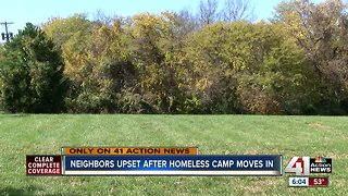 Neighbors upset after homeless camp moves in