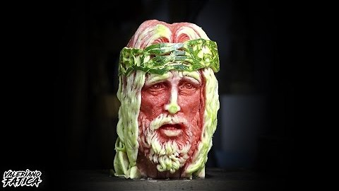 Watermelon Carving Portrait Captures Face Of Jesus