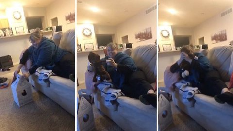 Heart-warming moment mum hears her late husbands voice coming from her present