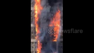 Huge fire breaks out in 20-storey office building - Video
