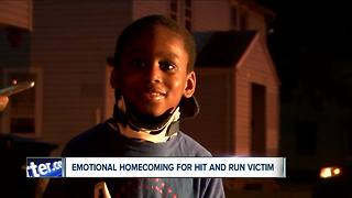 Boy hit by car returns home from hospital - Video