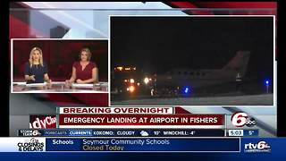 Small plane makes hard landing on runway at Fishers airport, no injuries reported - Video