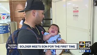 Soldier meets son for the first time after deployment