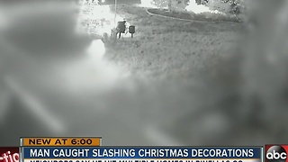 Christmas Grinch caught on camera slashing holiday inflatables - Video