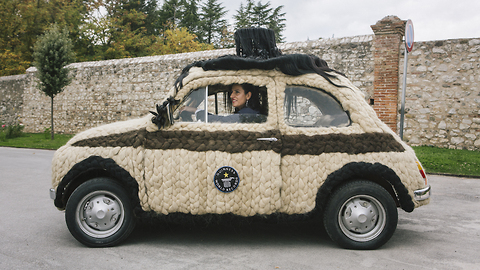 Italian Hairstylist Transformed Her Vehicle By Covering It With Human Hair