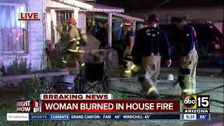 Elderly woman burned in Phoenix house fire - Video