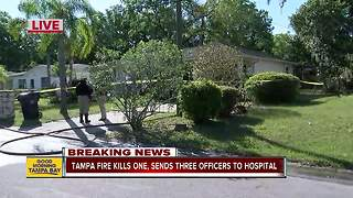 Tampa house fire kills one, 3 officers injured - Video