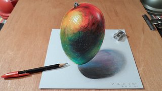 How to draw a 3D levitating mango - Video