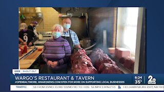 """Wargo's Restaurant and Tavern in Forest Hill says """"We're Open Baltimore!"""""""