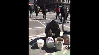 Homeless Man Uses Buckets To Create Incredible Beats - Video