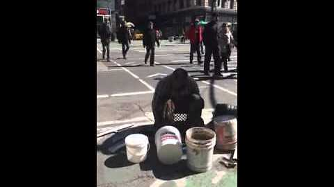 Homeless Man Uses Buckets To Create Incredible Beats