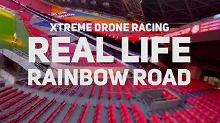 Extreme Rainbow Road: Drone racing in an empty stadium - Video