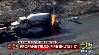 Propane tanker closes down SB I-17 at Table Mesa Road - Video