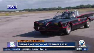 The Batmobile and Original Batcopter on display at the Stuart Air Show