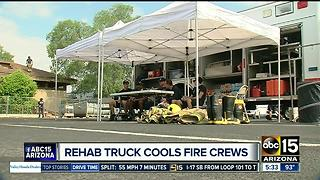Firefighters stay safe in extreme heat with special 'rehab truck' - Video