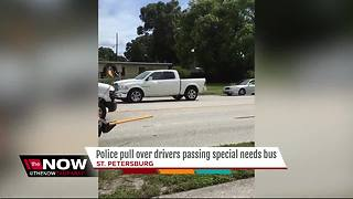 A dozen drivers zoom past special needs bus stop, ignore honking bus driver in St. Pete - Video