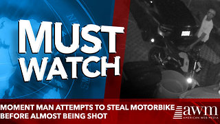 Moment man attempts to steal motorbike before almost being shot - Video