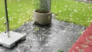 Storm Slams Winterthur with Large Hailstones - Video
