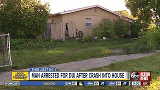 HCSO: Man arrested, charged with DUI after crashing into home