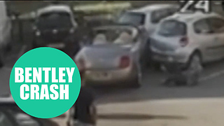 Drunk driver captured on CCTV smashing his convertible Bentley - Video
