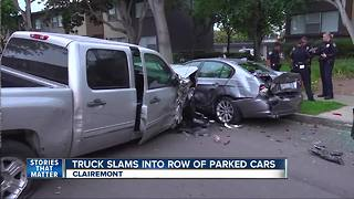 Truck slams into row of parked cars in Clairemont