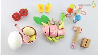 Wooden Toy Cutting Egg Sea Food Cooking playset Kitchen Surprise Learning names - Video