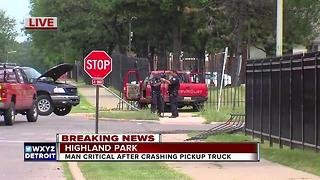 Driver in critical condition after accident in Highland Park
