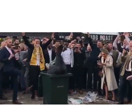 Cheltenham Crowds Cheer as Man Front Flips Into a Bin