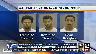 Police arrested three suspects, two of them teens, in a violent attempted carjacking in Canton - Video