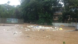Floodwater Creates 'Whirlpool of Rubbish' in Indian City of Thane - Video