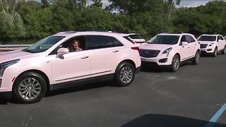 Motorcade of pink Cadillacs coming to Aretha Franklin's funeral