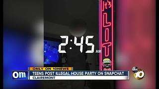 Teens post illegal Clairemont house party on Snapchat - Video