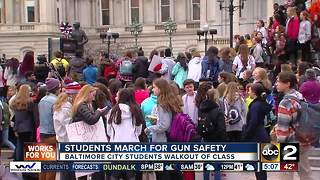 Baltimore City students march for gun safety in schools - Video