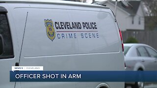 Cleveland police officer shot in arm early Sunday morning