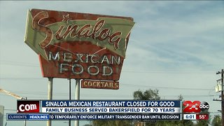 Sinaloa Mexican Restaurant closes doors after 70 years of business