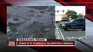 Woman hit by 18-wheeler in Tampa - Video