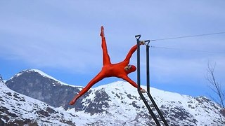 Human Flag Performed over Breathtaking Norway Waterfall - Video