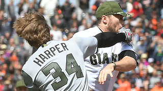 Bryce Harper MOLLYWOPS Hunter Strickland After Being Hit by Pitch, Brawl Breaks Out - Video