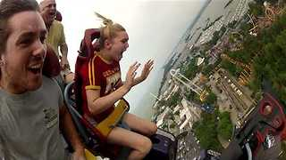 Woman Freaks out on Roller Coaster - Video