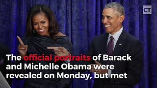 Obamas Unveil Portraits So Bad Audience Can't Believe It - Video