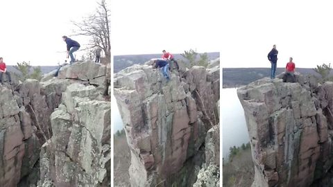 Daredevil Narrowly Avoids 100-Foot Drop After Slipping On Cliff-Edge During Stunt