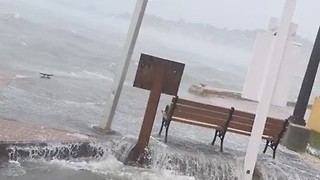 St Croix's Christiansted Pier Swamped by Hurricane Irma - Video