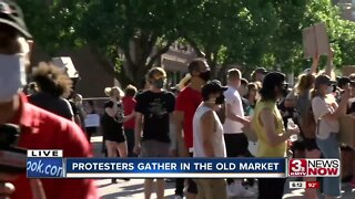 Protesters gather in the Old Market
