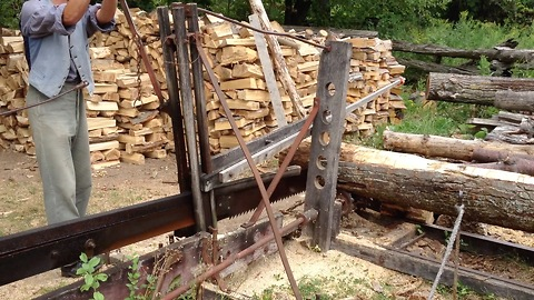 You won't believe what powers this turn of the century log cutter!