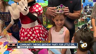 Community throws birthday party for little girl