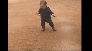 Excited Toddler Sees Rain for the First Time on His Family Farm
