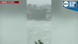 Boat sinks in Hurricane Irma winds in Miami - Video
