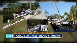 Veteran memorial removed from community - Video