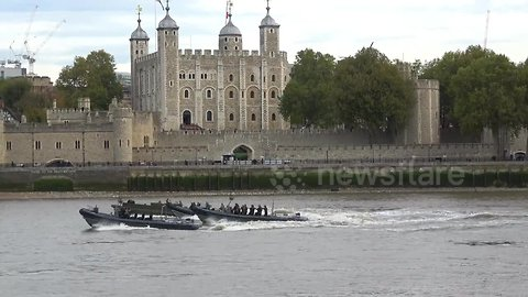 Royal Marines conduct military exercise on River Thames ahead of Dutch royal visit